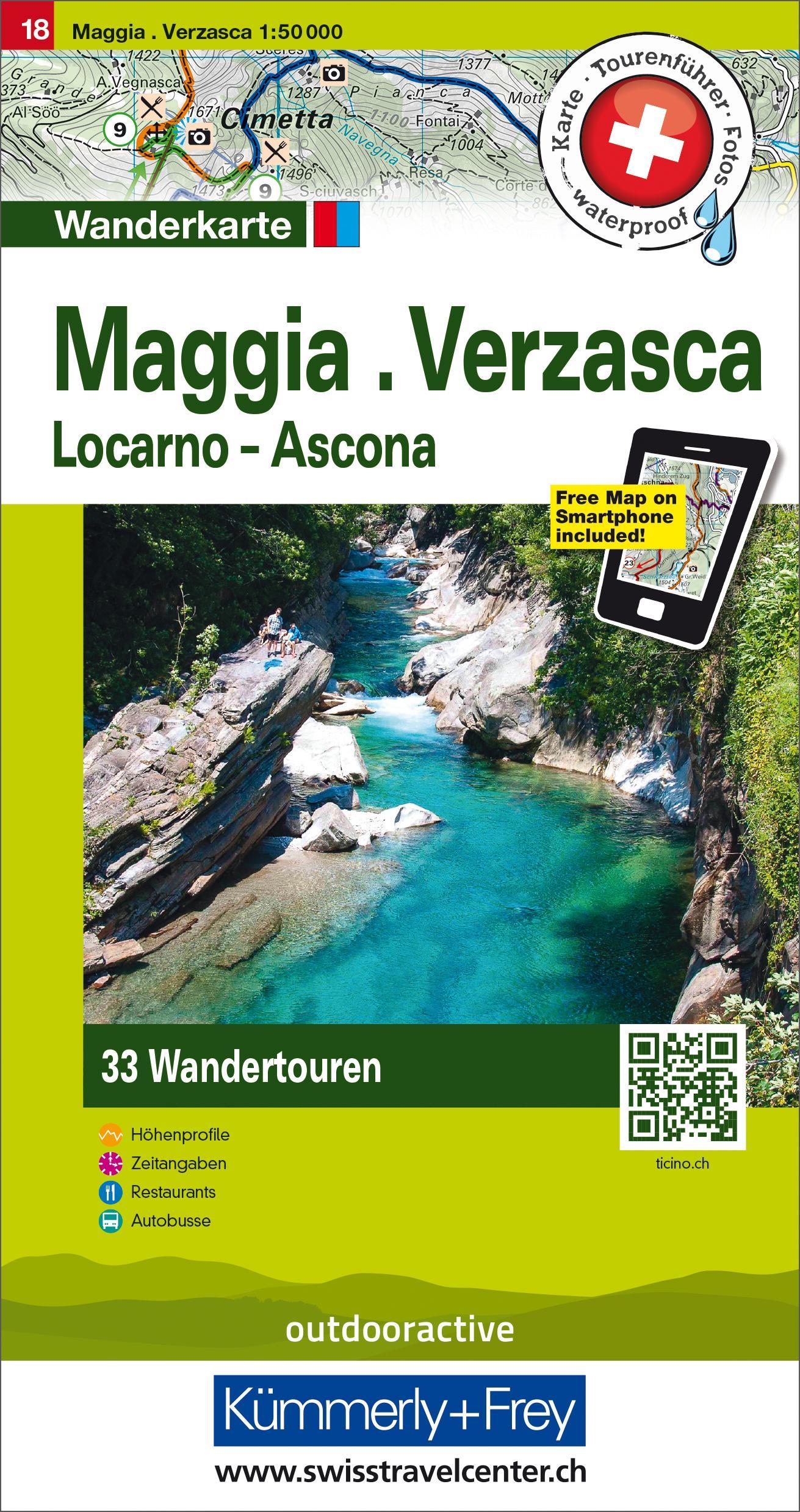 Hallwag Touren-Wanderkarte 18 Maggia, Verzasca, Locarno, Ascona (Land-)Karte