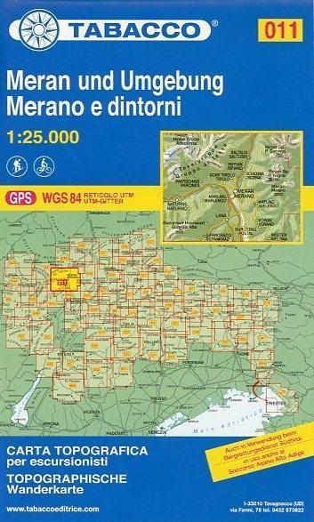 Tabacco Wandern 1 : 25 000 Meran und Umgebung  Merano e dintorni  (Land-)Karte  Tabacco Editrice Topographische Wanderkarten 1 : 25 000  In Klarsichthülle  Deutsch  2010